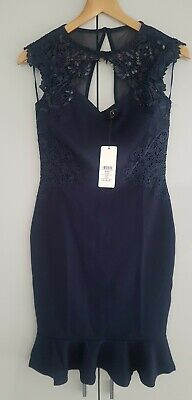 LIPSY Navy Side Sequin Lace Bodycon Dress Size 10 • 17.99£