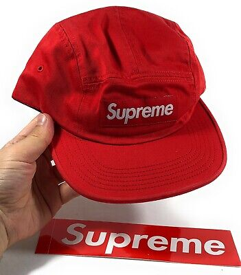 $ CDN254.73 • Buy Authentic Supreme Washed Chino Twill Camp Cap Box Logo Red Hat SS19H58 (FW18)