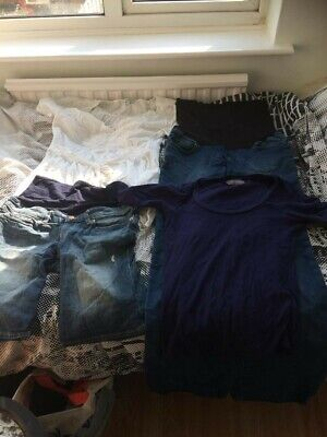 Bundle Of Size 10 Maternity Clothes - Jeans, Shorts, Tops • 2£