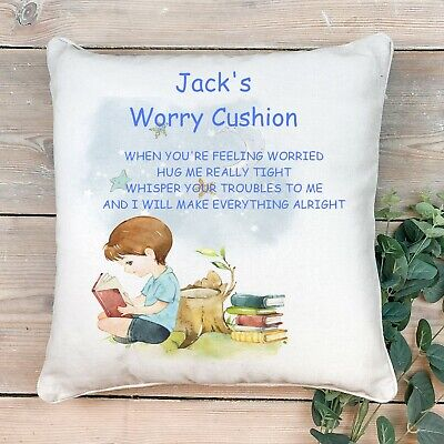 Personalised Childs Worry Pillow Cushion Comfort Love Hugs Autism Anxiety Calmer • 6.99£