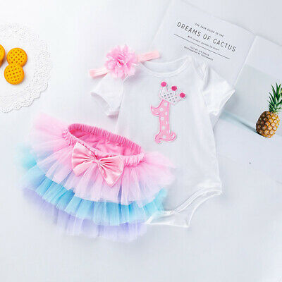 AU25.95 • Buy Baby Girl 1st Birthday Dress Cake Smash Dress Set Outfit Set Tutu Romper Set
