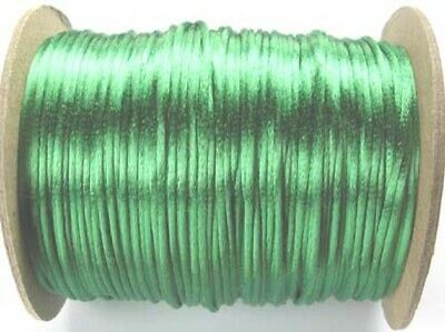 5m Emerald Green Satin Rattail Knotting Cord  - 2mm - Beadsmith - Made In USA • 1.10£