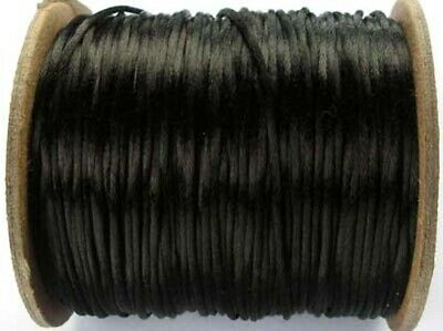 5m Black Satin Rattail Knotting Cord  - 2mm - Beadsmith - Made In USA • 1.10£
