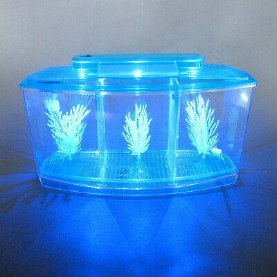 Acrylic Aquarium Baby Betta Bowl Fish Tank With LED Light Office Decoration • 27.17£