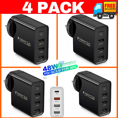 AU44.95 • Buy ⚡️ 4 Pack Qualcomm Qc3.0 48w 4 Port Fast Charging Charger Type C Wall Plug Ad