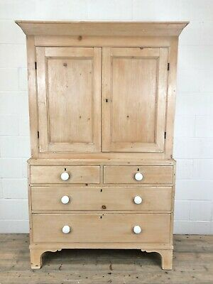 Antique Victorian Pine Linen Press Cupboard (M-767) - Delivery Available • 1,450£