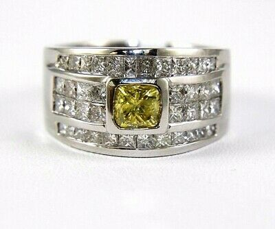 Natural Princess Cut Canary Yellow Diamond Cluster Ring 18k White Gold 3.00Ct • 2,897.20£