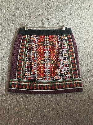 Ethnic Mirrored Mini Skirt To Fit Size 10 • 3£