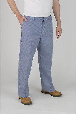 """£6.99 • Buy Faithful Blue Check Chef Trousers – 88cm (34"""") Tall"""