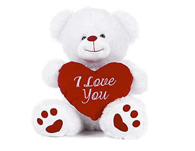 White Teddy Bear Holding Red Heart With  I Love You  Written On It White, 8  • 12.69£