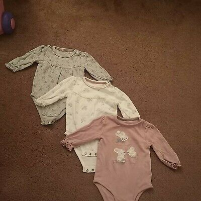 Baby Girl Long Sleeve Vests 3-6 Months • 0.99£