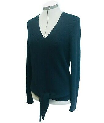 $ CDN39 • Buy MOTH Freeport Anthropologie Navy Blue Knit Sweater Shirt S Small M Tie Front Top