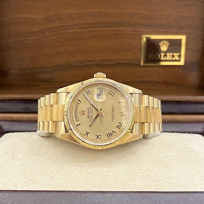 $ CDN20717.30 • Buy Rolex President Day Date Mens 18248 Bark Bezel Box And Papers Double Quick Set