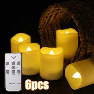 £9.39 • Buy Pack Of 6 LED Votive Tea Lights Battery Flickering Candles Timer Remote Control