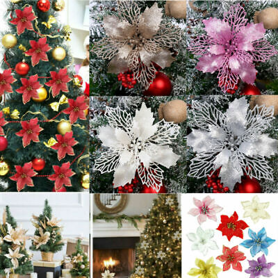10X Christmas Large 11cm Poinsettia Glitter Flower Tree Hanging Party Decoration • 5.89£