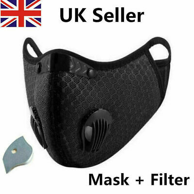UK Face Mask Reusable Washable Anti Pollution PM2.5 Two Air Vent With Filter • 4.99£