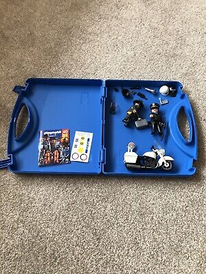 Playmobil Police Bike, Thief, Police Officer Lots Of Accessories In Carry Case • 8£