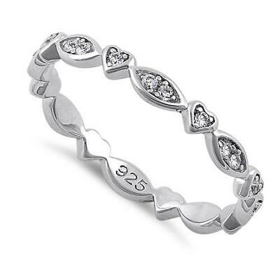 Genuine Sterling Silver Eternity Heart & Oval Clear CZ Ring All Sizes • 21.99£