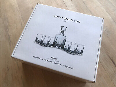 Royal Doulton Mode Fine Crystal Decanter And 6 X Tumbler Set Brand New Unopened • 38£