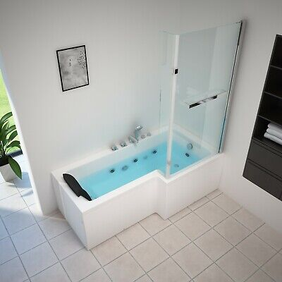 Siena Whirlpool L Shape Bath With Screen-Jacuzzi Jets-1700mm-Spa-Left/Right • 275£