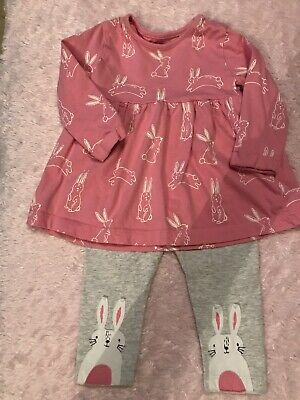 Blue Zoo Baby Girls 6-9 Months Rabbit Print Dress/leggings Set • 2£