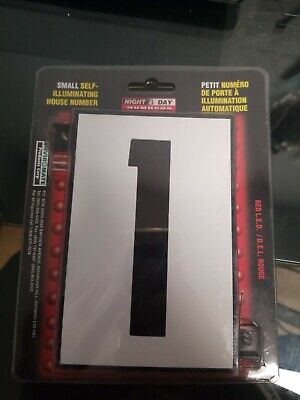 Enviromate #1 Small Self Illuminating House Number  1  W/ Red L.E.D Lighting  • 6.24£