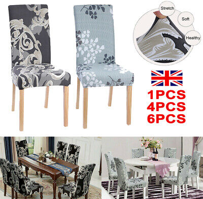 1/4/6PCS Dining Chair Seat Covers Slip Stretch Wedding Banquet Party Removable H • 14.97£