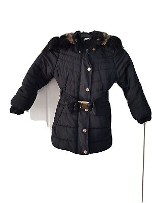 Blue Zoo Girls Black Winter Hooded Coat Aged 5-6 • 4.99£