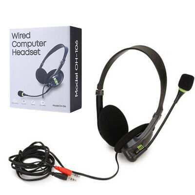 3.5mm Stereo Headset With Mic Noise Cancelling For Skype Webinar Call Center • 5.43£