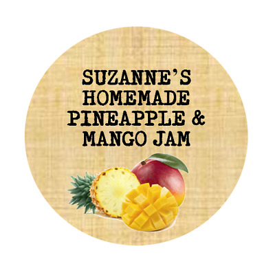 PINEAPPLE AND MANGO JAM Personalised Labels JAM JAR STICKERS GIN VODKA BOTTLE • 2.50£