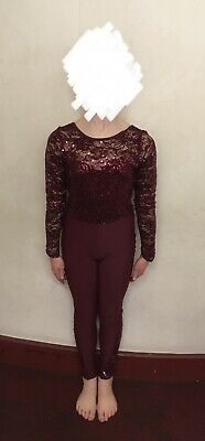 1st Position Maroon Sparkly Catsuit Dance Costume Size 4 • 10£