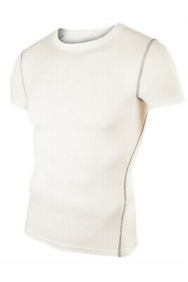 Mens Compression Tops T-Shirt Short Sleeve Under Base Layers Running Gym WhiteXL • 1£