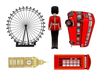 £2.99 • Buy London Theme Edible Cake Icing Toppers Beefeater Bus Phone Box 5  Tall