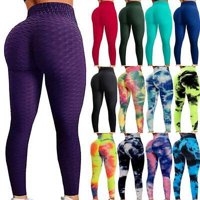 £7.95 • Buy Womens Anti-Cellulite Yoga Pants High Waist Gym Leggings Ruched Push Up Trousers