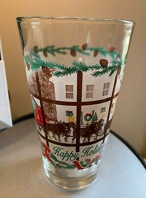 $ CDN33.03 • Buy 1990s VINTAGE Budweiser Happy Holiday Frosted Clydesdale & Wagon Pint Beer Glass