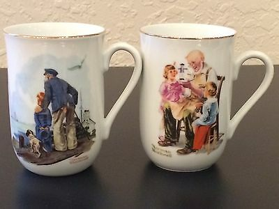 $ CDN6.61 • Buy Norman Rockwell Set Of 2 Coffee & Tea Mugs With Gold Trim Museum Series EUC!