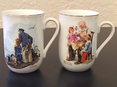 $ CDN6.59 • Buy Norman Rockwell Set Of 2 Coffee & Tea Mugs With Gold Trim Museum Series EUC!