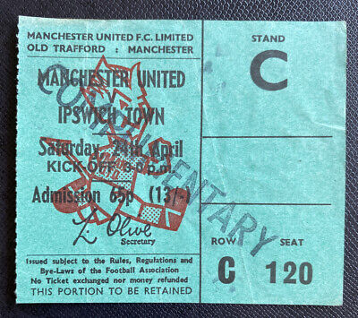 1970/71 ORIGINAL DIVISION ONE  TICKET MANCHESTER UNITED V IPSWICH TOWN • 16.99£