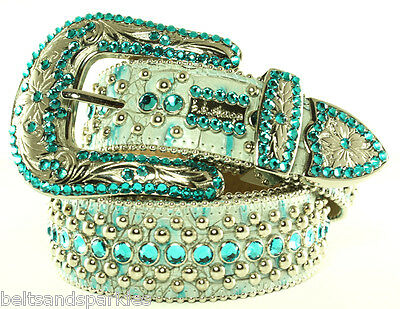 $ CDN346.79 • Buy BB Simon Teal And Silver Leather Belt 32 L New