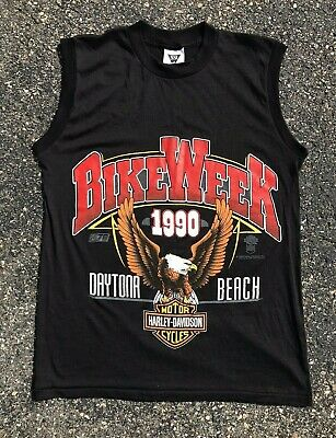 $ CDN60 • Buy Vintage Harley Davidson Daytona Beach Bike Week Sleeveless T Shirt Size M Medium