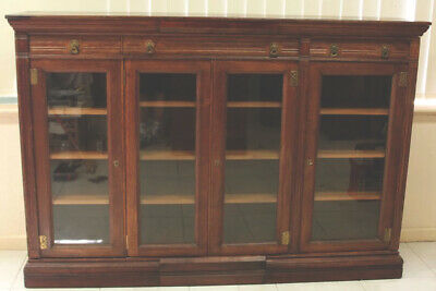 AU2900 • Buy Antique  4 Door Bookcase Circa 1890 Solid English Oak Working Locks Quality