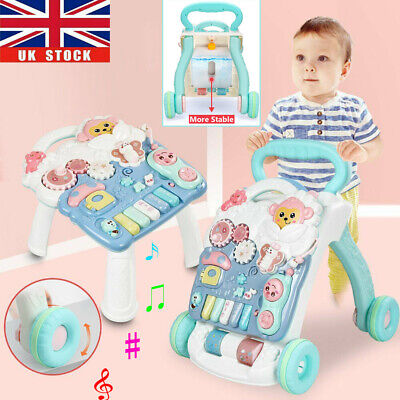 Baby Walker 4 In 1 First Steps Bouncer Push Along Mobility Toys Musical Walking • 23.86£