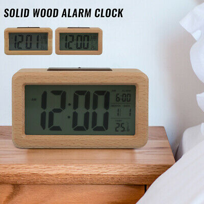 Digital Alarm Clock Wooden Thermometer Display Night Light  Snooze Sleep Timer • 11.39£