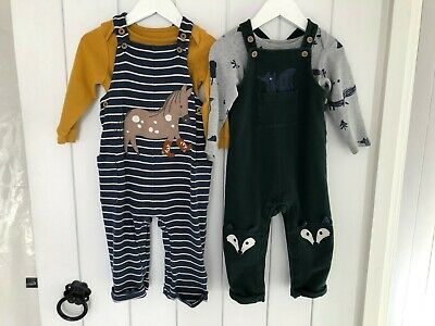 2 X Baby Boys M&S Dungarees Sets Horse/Fox  12-18 Months • 6.45£