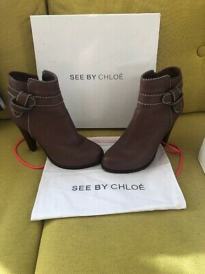 Gorgeous SEE By CHLOE Leather Ankle Boots SIZE UK 6/39 • 50£
