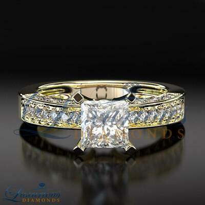 $ CDN5722.29 • Buy 2 Carat Women Diamond Ring Solitaire With Accents Princess Cut Yellow Gold