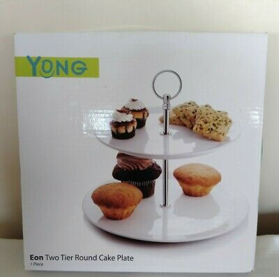 Yong Eon Two Tier Round Cake Serving Presentation Plate,White Ceramic-New In Box • 12.99£