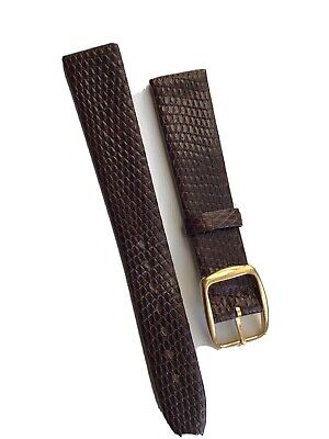 17mm Vintage Genuine Lizard Brown Watch Strap With Gold Plated Omega Buckle • 25£
