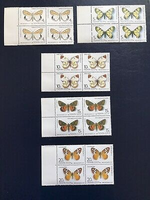 Russia 1986 Butterflies And Moths Listed In USSR Five Blocks Of Four Stamps MNH • 2.50£