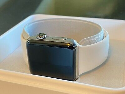 $ CDN99.99 • Buy Apple Watch Series 2 With White And Navy Blue Bands, 42 Mm Stainless Steel Case